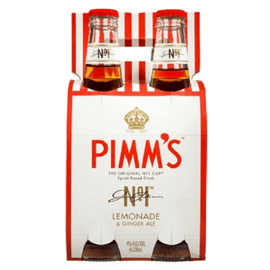 PIMM'S Lemonade & Ginger Ale 330mL Bottle 4 Pack