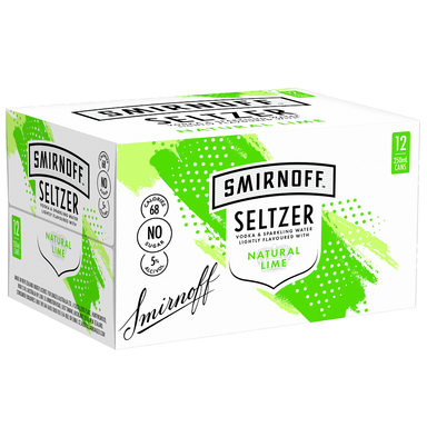 SMIRNOFF Seltzer Natural Lime 250mL Can 12 Pack