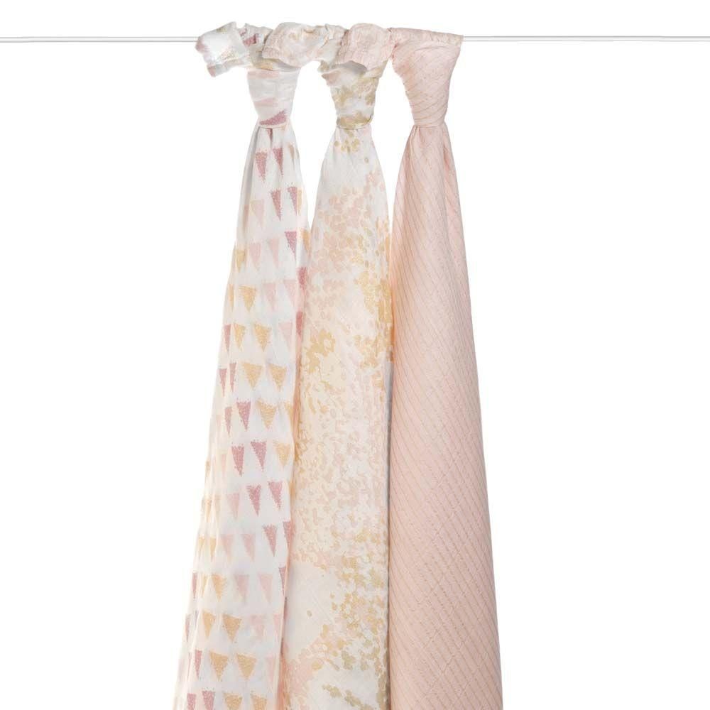 aden + anais Silky Soft Bamboo Swaddle - Metallic Primrose Birch (3-Pack)