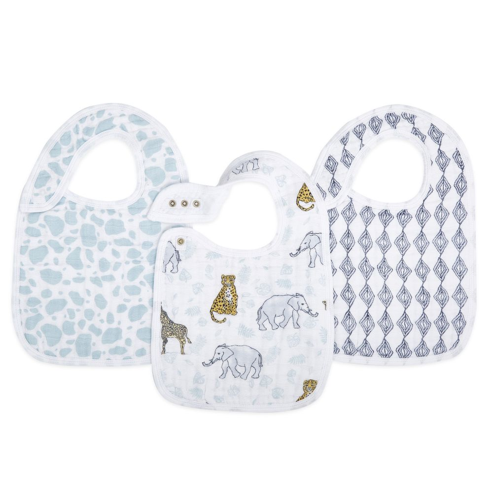 aden + anais Cotton Muslin Snap Bib - Jungle (3-Pack)