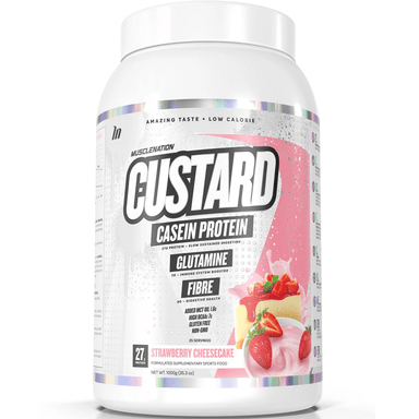Muscle Nation CUSTARD Casein Protein 1000g - Strawberry Cheesecake
