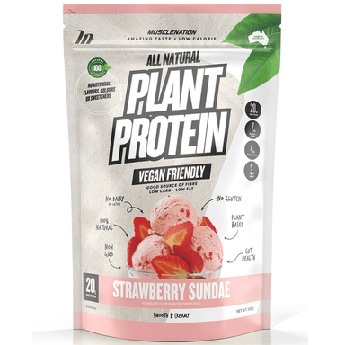 Muscle Nation 100% Natural Plant Based Protein 560g - Strawberry Sundae
