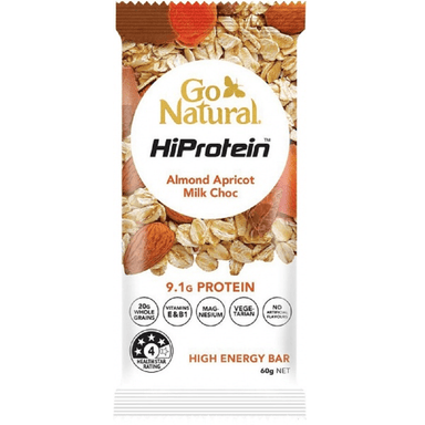 Go Natural HiProtein Almond Apricot Milk Choc High Energy Bar 60g (10 Pack)