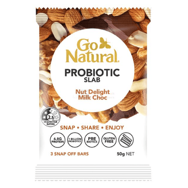 Go Natural Probiotic Slab Nut Delight Milk Choc Bars 50g 10-Pack