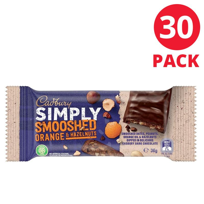 Cadbury SIMPLY SMOOSHED Orange & Hazelnuts 36g Box of 30