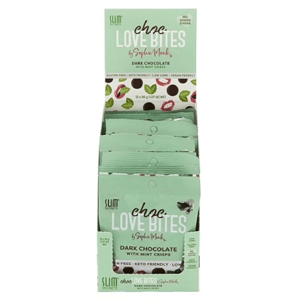 Slim Secrets Choc Love Bites 12x36g - Dark Chocolate with Mint Crisps