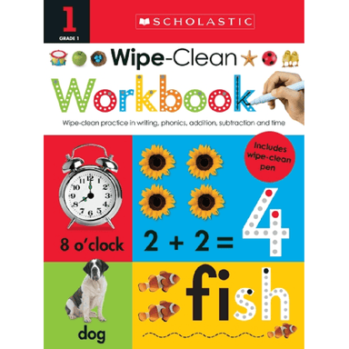 SCHOLASTIC Grade 1 Wipe-Clean Workbook