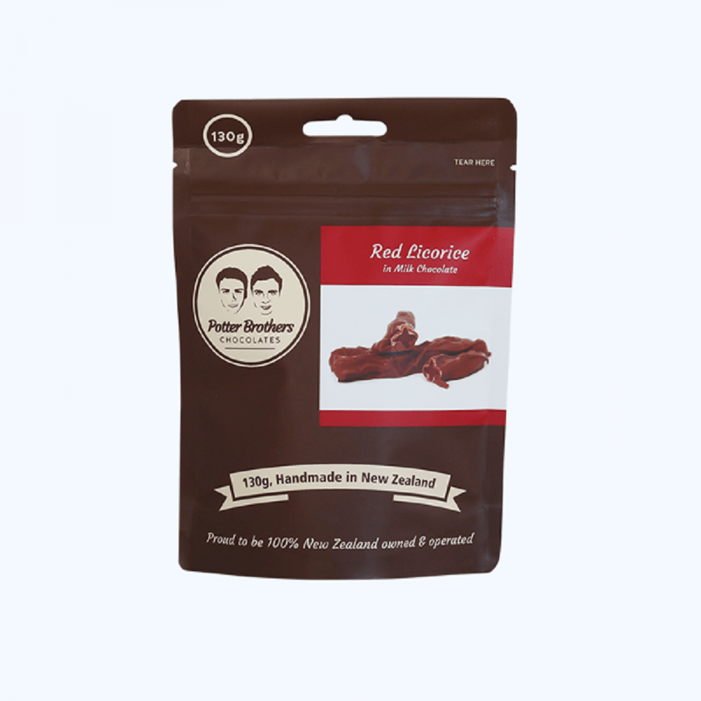 Potter Brothers Red Licorice in Milk Chocolate 130g