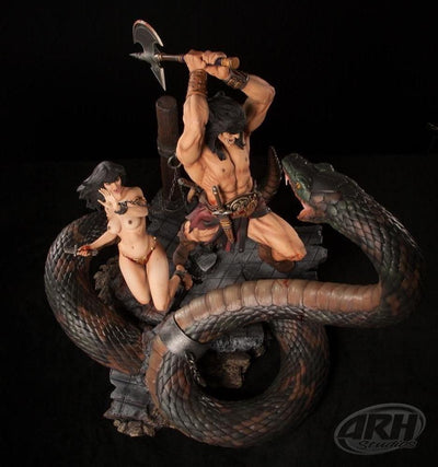CONAN: The Sacrifice Statue & Snake Diorama with Slave Girl SET by ARH Studios