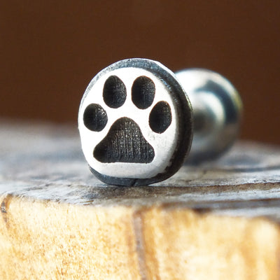 Paw Print Internally Threaded Labret-Internally Threaded Labret-Metal Lotus