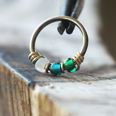 Alpine - Emerald & Teal Nose Ring Hoop-Beaded Hoop-Metal Lotus