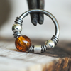 Baltic Amber, Beaded Nose Ring Hoop-Beaded Hoop-Caterpillar Arts