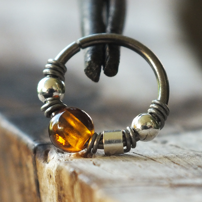 Baltic Amber Nose Ring Hoop-Beaded Hoop-Metal Lotus