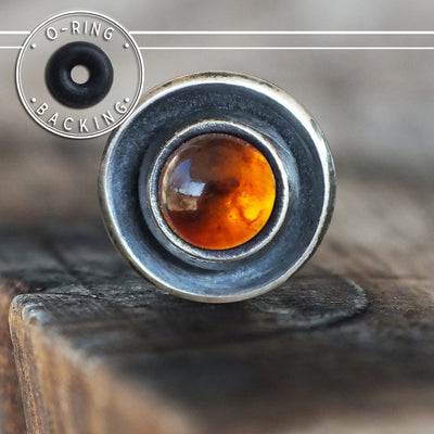 Baltic Amber Disc Single Flare Plug-Single Flare Plug-Metal Lotus