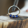Celestial - Cobalt Blue Nose Ring Hoop-Beaded Hoop-Metal Lotus