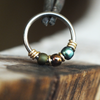 Dragonfly - Metallic Green & Teal Nose Ring Hoop-Beaded Hoop-Metal Lotus