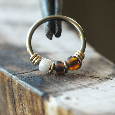 Espresso - Cream & Brown Nose Ring Hoop-Beaded Hoop-Metal Lotus