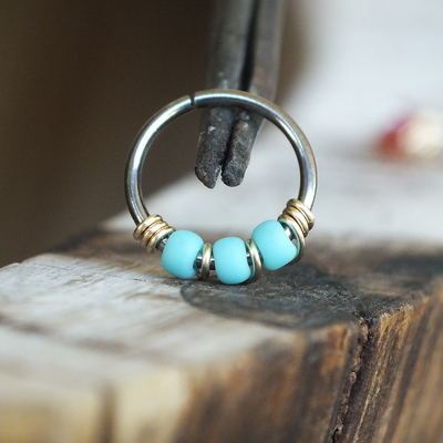 Gilded - Turquoise Blue Nose Piercing Hoop-Beaded Hoop-Metal Lotus