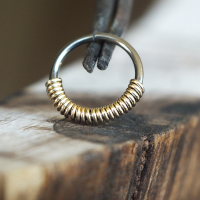 Goldfill Half-Wrap Hoop-Nose Hoop-Metal Lotus