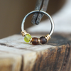 Green Tea - Brown & Green Nose Piercing Hoop-Beaded Hoop-Metal Lotus