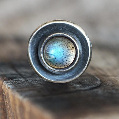 Labradorite Disc Cartilage Earring-Cartilage Earring-Caterpillar Arts