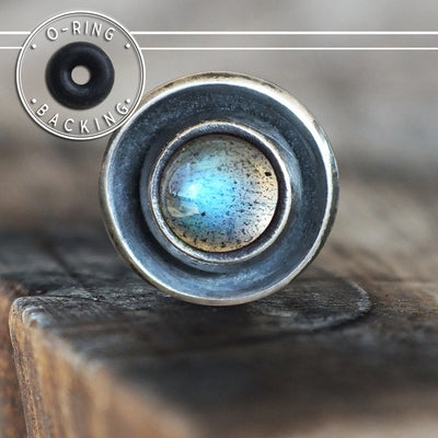 Labradorite Disc Single Flare Plug-Single Flare Plug-Metal Lotus