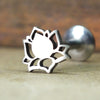 Lotus Flower Internally Threaded Cartilage Earring-Internally Threaded Labret-Metal Lotus