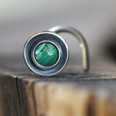 Malachite Disc Nose Stud-Nose Stud-Metal Lotus