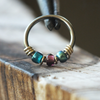 Peacock - Purple & Teal Nose Piercing Ring-Beaded Hoop-Metal Lotus