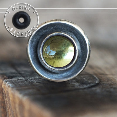 Peridot Disc Single Flare Plug-Single Flare Plug-Metal Lotus