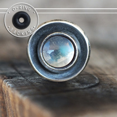 Rainbow Moonstone Disc Single Flare Plug-Single Flare Plug-Metal Lotus