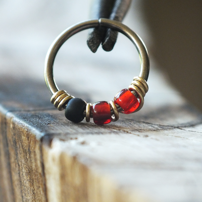 Retro - Red & Black Nose Piercing Ring-Beaded Hoop-Metal Lotus