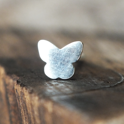 Silver Butterfly Cartilage Earring-Cartilage Earring-Caterpillar Arts
