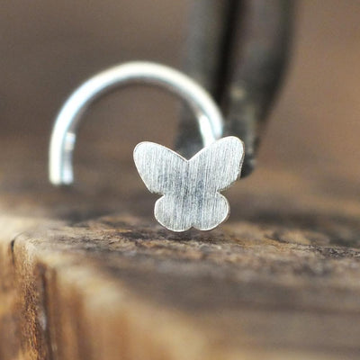 Silver Butterfly Nose Stud-Nose Stud-Caterpillar Arts