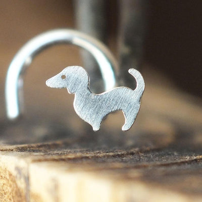 Silver Dog Nose Stud-Nose Stud-Metal Lotus