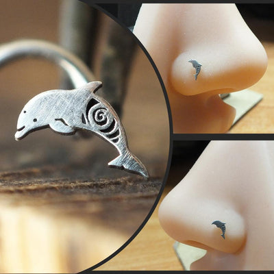 Silver Dolphin Nose Stud-Nose Stud-Caterpillar Arts