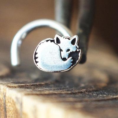 Silver Fox Nose Stud-Nose Stud-Caterpillar Arts
