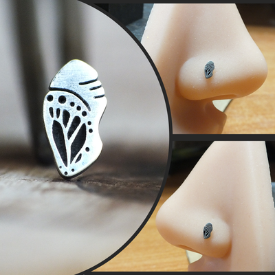 Silver Monarch Butterfly Chrysalis Nose Stud-Nose Stud-Caterpillar Arts