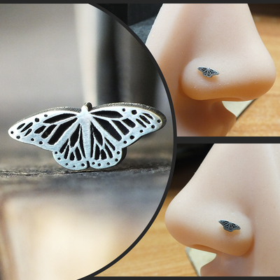 Silver Monarch Butterfly Nose Stud-Nose Stud-Caterpillar Arts
