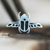 Silver Scarab Beetle Cartilage Earring-Cartilage Earring-Caterpillar Arts
