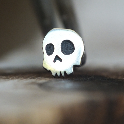 Silver Skull Cartilage Earring-Cartilage Earring-Caterpillar Arts