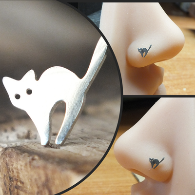 Silver Spooked Cat Nose Stud-Nose Stud-Metal Lotus