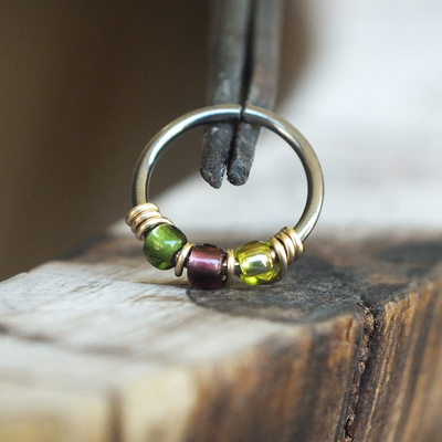 Sour Grapes - Green & Purple Nose Piercing Ring-Beaded Hoop-Metal Lotus