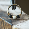 Tuxedo - Black & White Nose Piercing Ring-Beaded Hoop-Metal Lotus