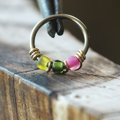 Watermelon - Green & Pink Nose Piercing Ring-Beaded Hoop-Metal Lotus