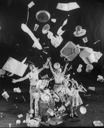 "(This header image is from a 1955 magazine with the title: ""Throwaway Living: disposable items cut down household chores"")"