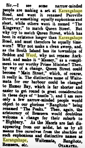 1913 Karangahape Name Change Plea