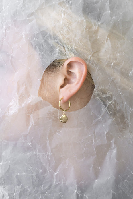 Shell Gold Charm Hoop Earrings
