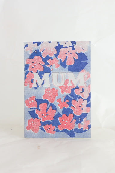 'Mum' Risograph Flower Card
