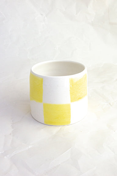 Checkered Handmade Ceramic Tumbler - Yellow